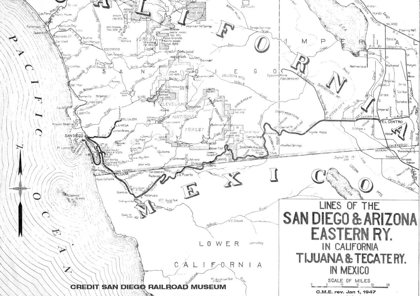 Map Of Eastern Arizona.San Diego And Arizona Railway Drawings