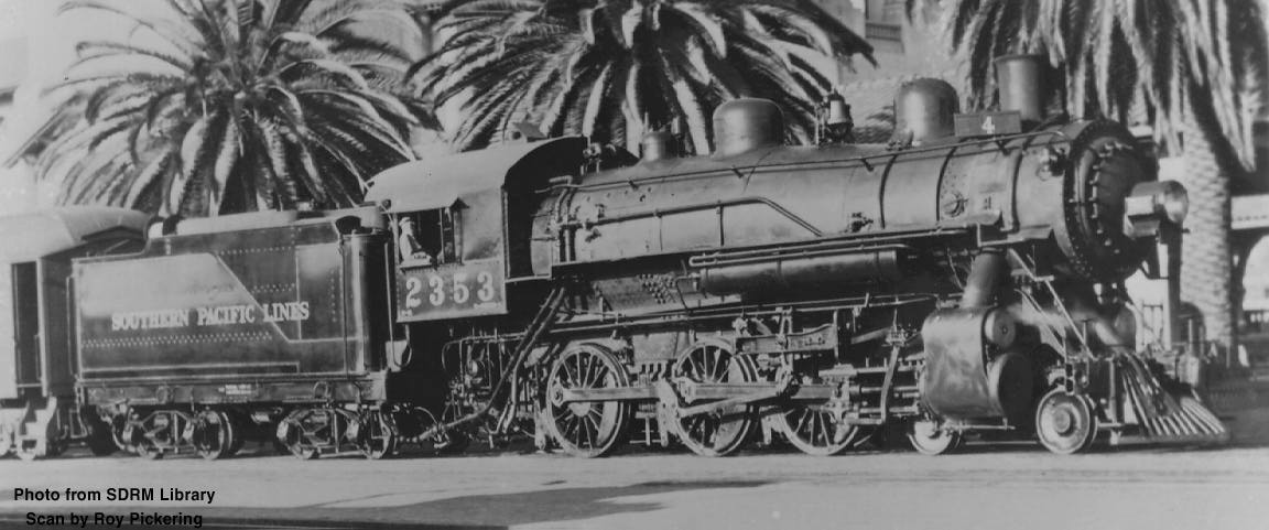 Completed in August 1912, SP #2353 was delivered to the SP October 18, and  used in 1913 on Fresno-Los Angeles San Joaquin Express trains.